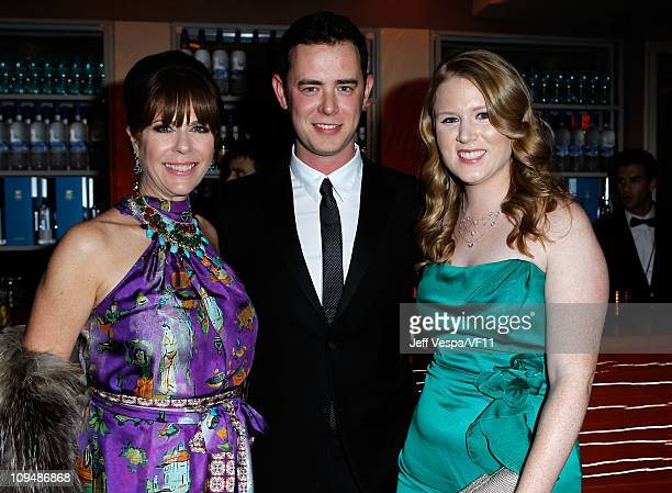 Actors Rita Wilson Colin Hanks and Katherine Elizabeth Short attend the 2011 Vanity Fair Oscar Party Hosted by Graydon Carter at the Sunset Tower...