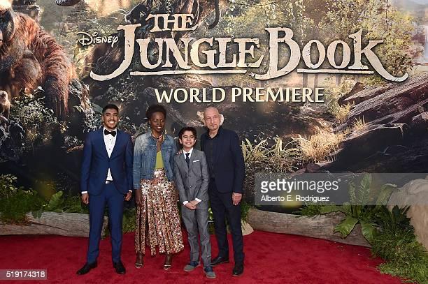 Actors Ritesh Rajan Lupita Nyong'o Neel Sethi and Sir Ben Kingsley attend The World Premiere of Disney's 'THE JUNGLE BOOK' at the El Capitan Theatre...