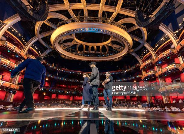 Actors Riz Ahmed and Felicity Jones on stage during rehersals for the 89th Annual Academy Awards at Hollywood Highland Center on February 25 2017 in...