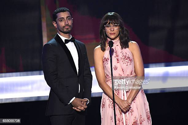 Actors Riz Ahmed and Rashida Jones speak onstage during the 23rd Annual Screen Actors Guild Awards at The Shrine Expo Hall on January 29 2017 in Los...