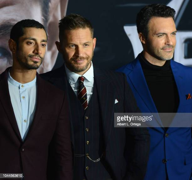 """Actors Riz Ahmed, Tom Hardy and Reid Scott arrive for Premiere Of Columbia Pictures' """"Venom"""" held at Regency Village Theatre on October 1, 2018 in..."""
