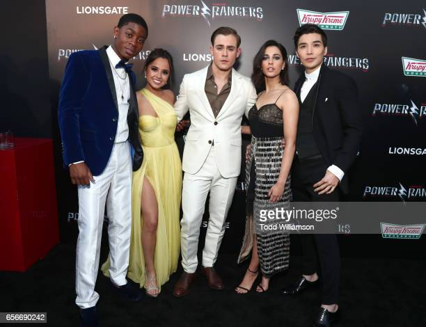 Actors RJ Cyler Becky G Dacre Montgomery Naomi Scott and Ludi Lin at The LA Premiere of Saban's Power Rangers presented by Lionsgate at Fox Bruin...