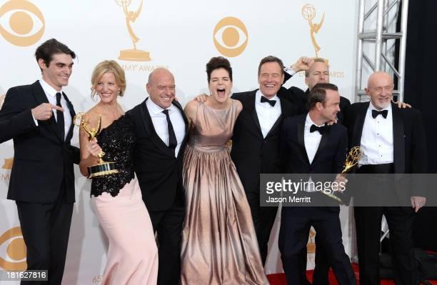 Actors RJ Mitte, Anna Gunn, Dean Norris, Betsy Brandt, Bryan Cranston, Aaron Paul, Bob Odenkirk and Jonathan Banks, winners of the Best Drama Series...