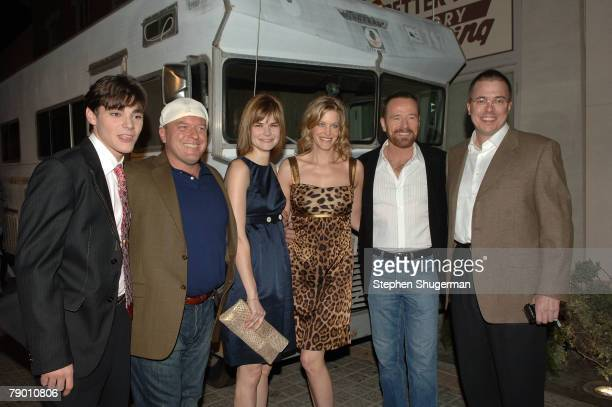 """Actors RJ Mitte, Dean Norris, Betsy Brandt, Anna Gunn, Bryan Cranston and executive producer Vince Gilligan attend the premiere of AMC's """"Breaking..."""
