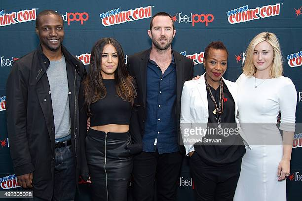 Actors Rob Brown Audrey Esparza Sullivan Stapleton Marianne JeanBaptiste and Ashley Johnson pose in the press room for the Blindspot panel during...