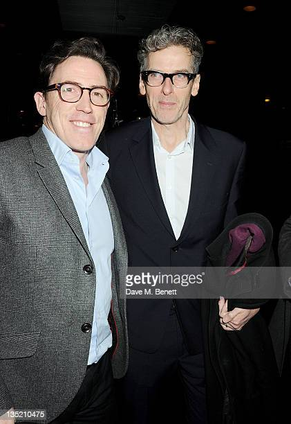 Actors Rob Brydon and Peter Capaldi attend an after party following the Press Night performance of The Ladykillers at Spice Market on December 7,...
