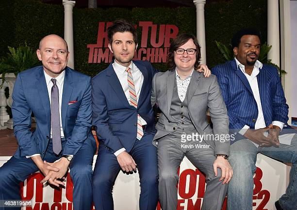 Actors Rob Corddry Adam Scott Clark Duke and Craig Robinson attend the premiere of Paramount Pictures' 'Hot Tub Time Machine 2' at Regency Village...