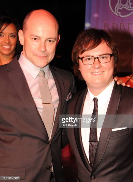Actors Rob Corddry and Clark Duke arrive at the Hot Tub Time Machine Bluray and DVD launch party at the Kandyland V red carpet at the Playboy Mansion...
