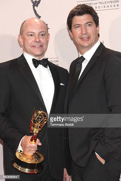 Actors Rob Corddry and Ken Marino attend the 2013 Creative Arts Emmy Awards Ceremony at the Nokia Theatre LA Live on September 15 2013 in Los Angeles...