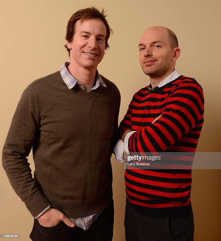 Actors Rob Huebel (L) and Paul Scheer pose for a portrait during the 2013 Sundance Film Festival at the Getty Images Portrait Studio at Village at the Lift on January 21, 2013 in Park City, Utah.
