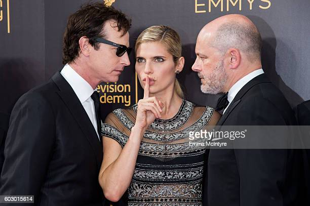 Actors Rob Huebel Lake Bell and Rob Corddry arrive at the Creative Arts Emmy Awards at Microsoft Theater on September 10 2016 in Los Angeles...