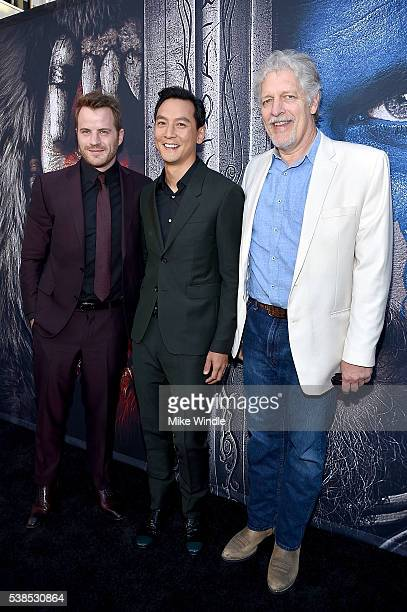 Actors Rob Kazinsky Daniel Wu and Clancy Brown attend the premiere of Universal Pictures' 'Warcraft' at TCL Chinese Theatre IMAX on June 6 2016 in...