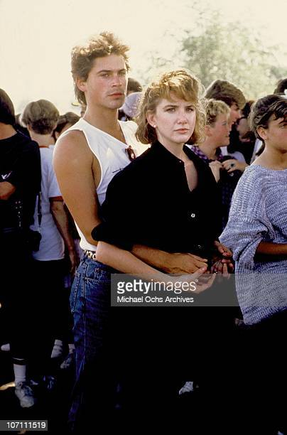 Actors Rob Lowe and Melissa Gilbert attend an event in October 1982 in Los Angeles, California.