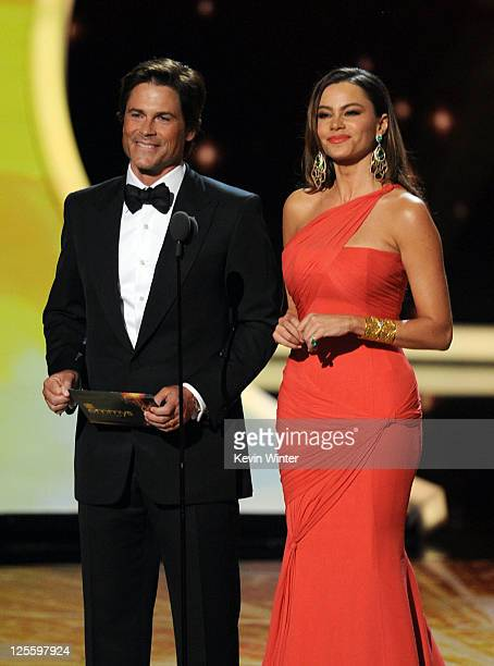 Actors Rob Lowe and Sophia Vergara speak onstage during the 63rd Annual Primetime Emmy Awards held at Nokia Theatre LA LIVE on September 18 2011 in...