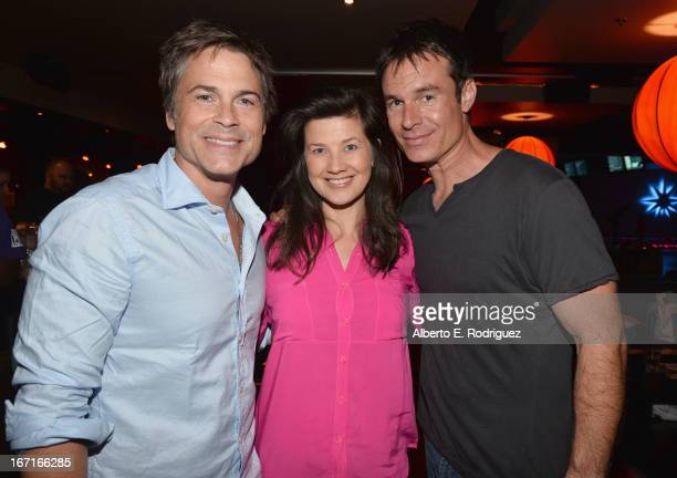 Actors Rob Lowe Daphne Zuniga and Patrick Muldoon attend the Best Buddies' Bowling For Buddies Event at Lucky Strike Lanes at LA Live on April 21...