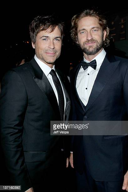 Actors Rob Lowe Gerard Butler attend The Weinstein Company's 2012 Golden Globe Awards After Party with Chopard Marie Claire and HP at The Beverly...