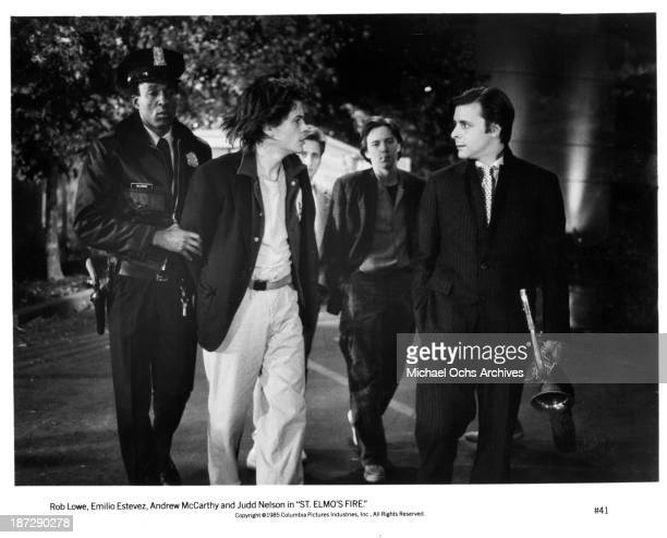 Actors Rob LoweEmilio Estevez Andrew McCarthy and Judd Nelson on set of the Columbia Pictures movie St Elmo's Fire in 1985