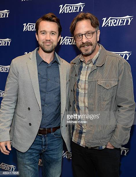 Actors Rob McElhenney and Marc Maron attend Variety's A Night in the Writers' Room at Writer's Guild Theater on June 10 2014 in Los Angeles California