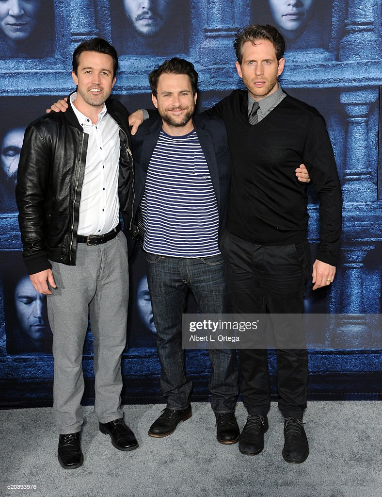 Actors Rob McElhenney, Charlie Day and Glenn Howerton arrive for the Premiere Of HBO's 'Game Of Thrones' Season 6 held at TCL Chinese Theatre on April 10, 2016 in Hollywood, California.
