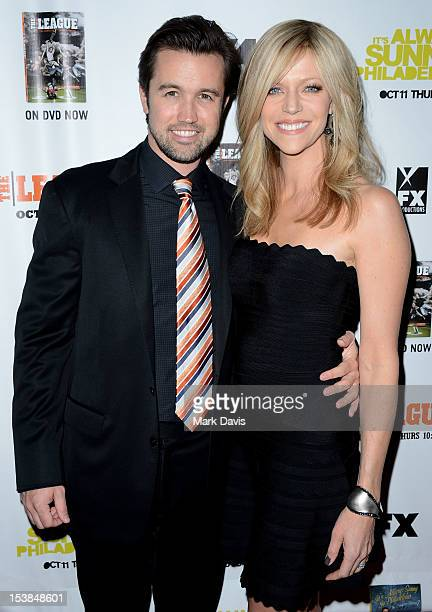 """Actors Rob McElhenny and Kaitlin Olson attend the FX season premiere screenings for """"It's Always Sunny In Philadelphia"""" and """"The League"""" at ArcLight..."""