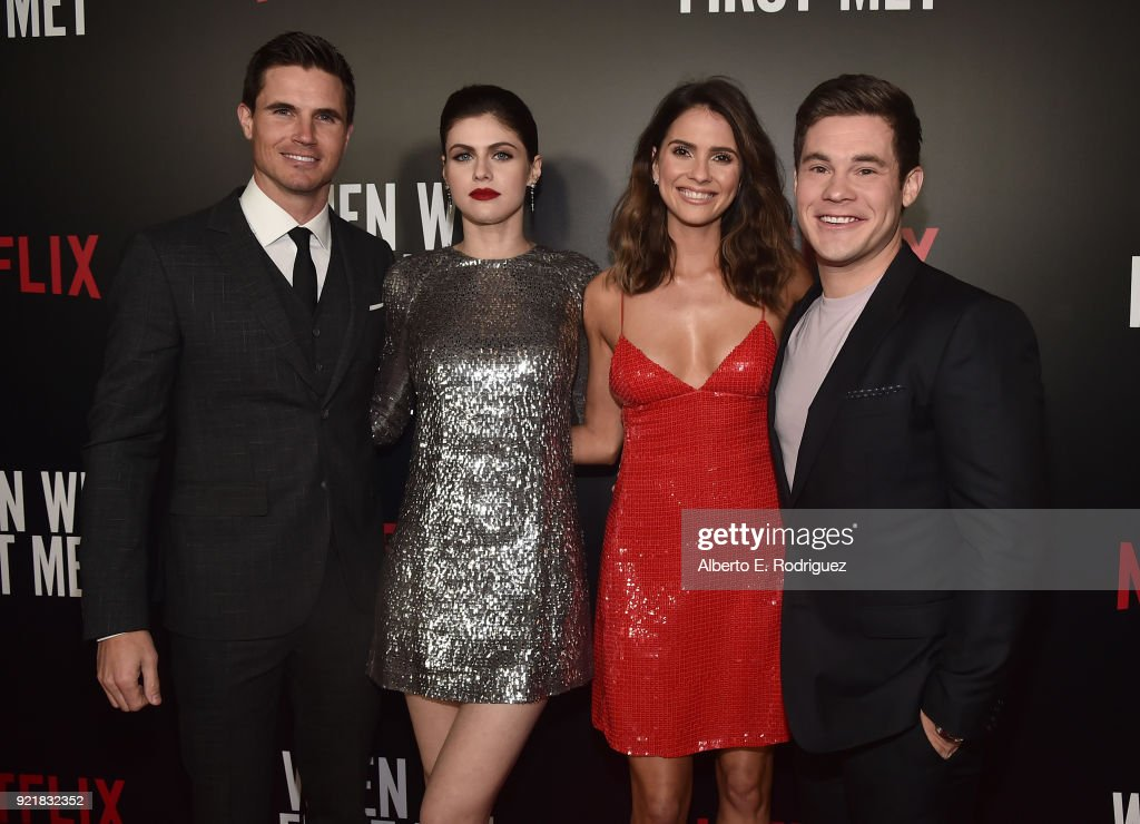 Actors Robbie Amell, Alexandra Daddario, Shelley Hennig and Adam Devine attend a special screening of Netflix's 'When We First Met' at ArcLight Hollywood on February 20, 2018 in Hollywood, California.