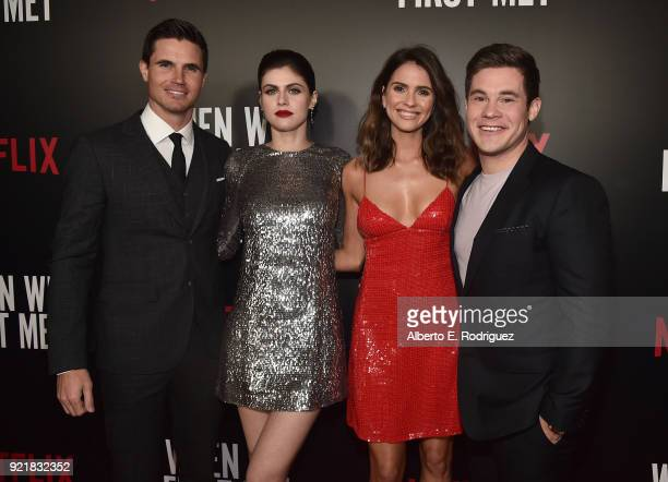 Actors Robbie Amell Alexandra Daddario Shelley Hennig and Adam Devine attend a special screening of Netflix's 'When We First Met' at ArcLight...