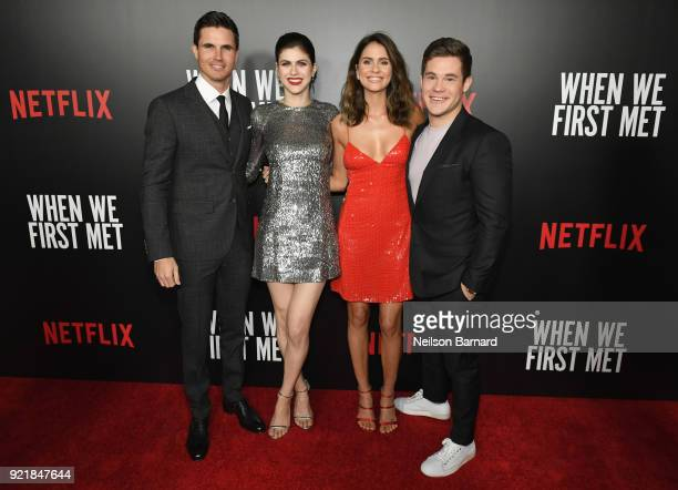 Actors Robbie Amell Alexandra Daddario Shelley Hennig and Adam DeVine attend Special Screening Of Netflix Original Film' 'When We First Met' at...