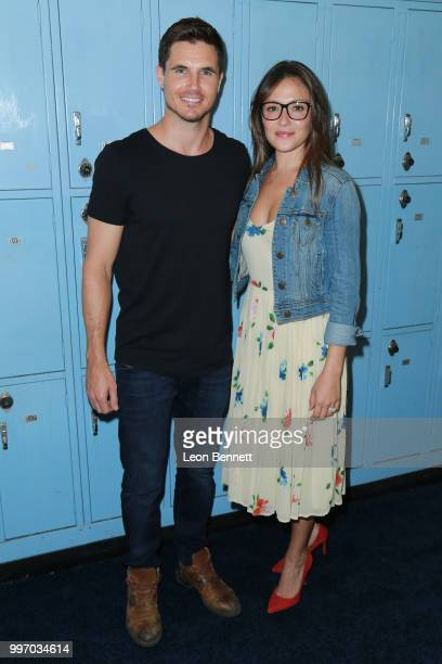 Actors Robbie Amell and Italia Ricci attend the Screening Of A24's 'Eighth Grade' Arrivals at Le Conte Middle School on July 11 2018 in Los Angeles...