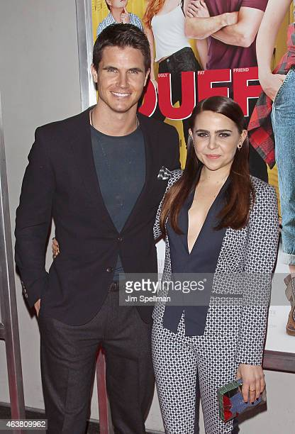 Actors Robbie Amell and Mae Whitman attend The Duff New York premiere at AMC Loews Lincoln Square on February 18 2015 in New York City