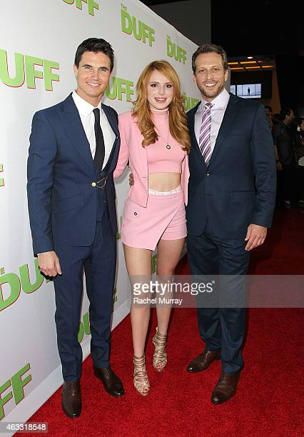 Actors Robbie Amell Bella Thorne and Director Ari Sandel attend a special Los Angeles fan screening of THE DUFF on February 12 2015 in Los Angeles...