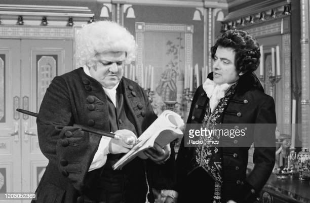 Actors Robbie Coltrane and Rowan Atkinson in a scene from episode 'Ink and Incapability' of the BBC television series 'Blackadder the Third', June...