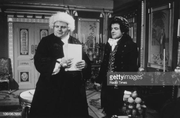 Actors Robbie Coltrane and Rowan Atkinson in a scene from the television series 'Blackadder the Third' June 5th 1987