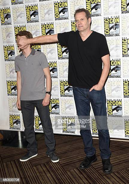 Actors Robbie Kay and Jack Coleman attend Heroes Reborn Press Room during ComicCon International 2015 at Hilton Bayfront on July 12 2015 in San Diego...