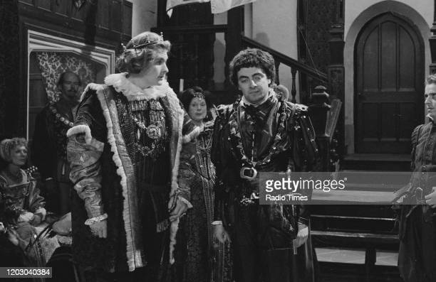 Actors Robert Bathurst and Rowan Atkinson in a scene from the unaired pilot of the BBC television series 'Blackadder' June 20th 1982