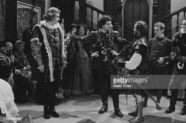 Actors Robert Bathurst Rowan Atkinson Alex Norton Philip Fox and Tim McInnerny in a scene from the unaired pilot of the BBC television series...