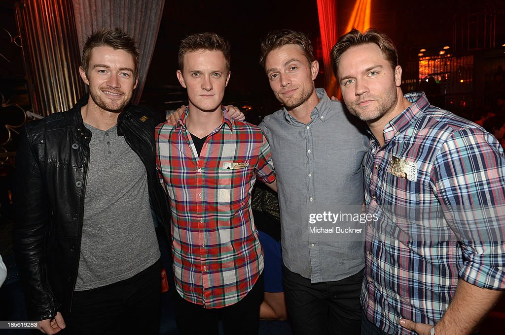 Actors Robert Buckley, Ross Philips, Wilson Bethel and Scott Porter attend the Assasin's Creed IV Black Flag Launch Party at Greystone Manor Supperclub on October 22, 2013 in West Hollywood, California.