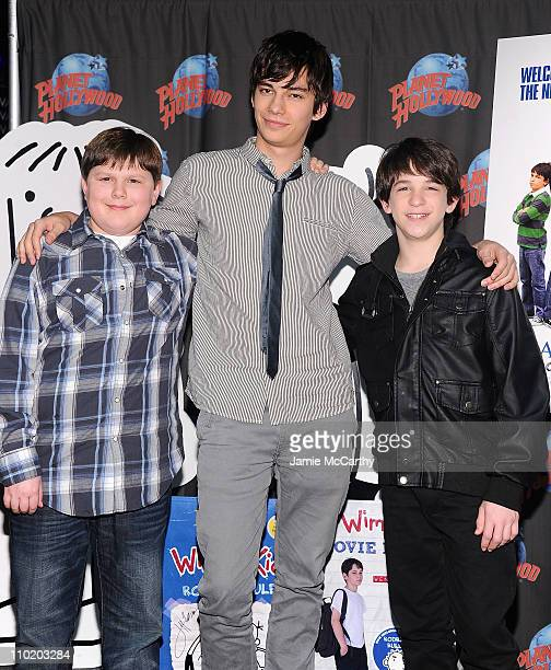 Actors Robert CapronDevon Bostick and Zack Gordon visit Planet Hollywood Times Square on March 16 2011 in New York City