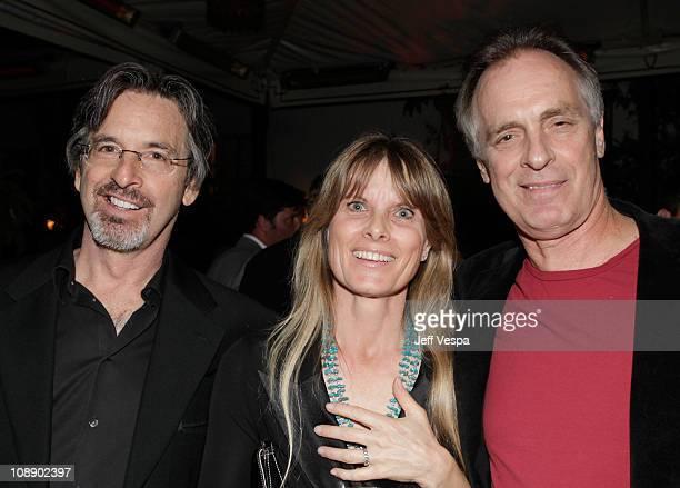 Actors Robert Carradine Edie Mani and Keith Carradine attend the Audi celebrates The King's Speech awards season party held at Chateau Marmont on...