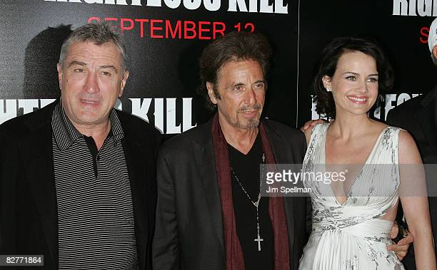 Actors Robert De Niro Al Pacino and Carla Gugino attend the New York premiere of 'Righteous Kill' at the Ziegfeld Theater on September 10 2008 in New...
