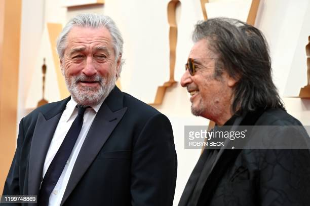 TOPSHOT US actors Robert De Niro and Al Pacino arrive for the 92nd Oscars at the Dolby Theatre in Hollywood California on February 9 2020