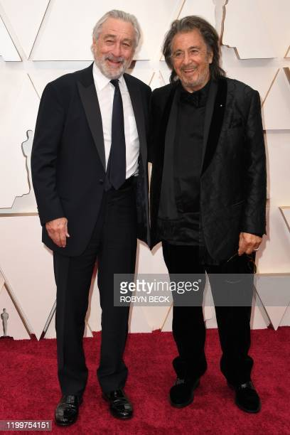 US actors Robert De Niro and Al Pacino arrive for the 92nd Oscars at the Dolby Theatre in Hollywood California on February 9 2020