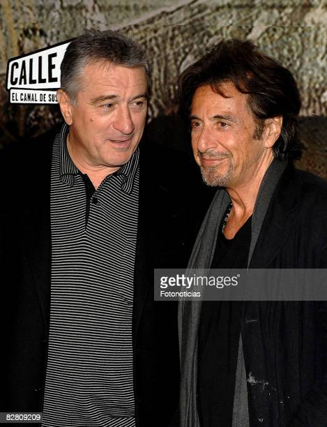Actors Robert De Niro and Al Pacino attend the European Premiere of 'Righteous Kill' at Kinepolis Cinema on September 13 2008 in Madrid Spain