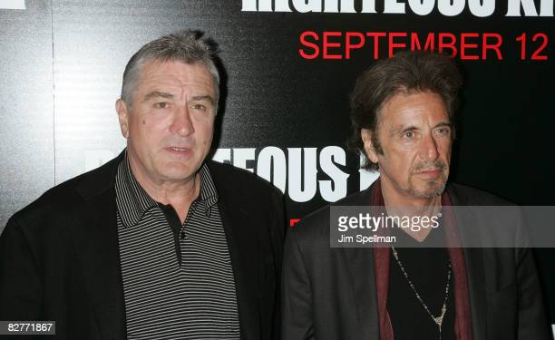 Actors Robert De Niro and Al Pacino attend the New York premiere of 'Righteous Kill' at the Ziegfeld Theater on September 10 2008 in New York City
