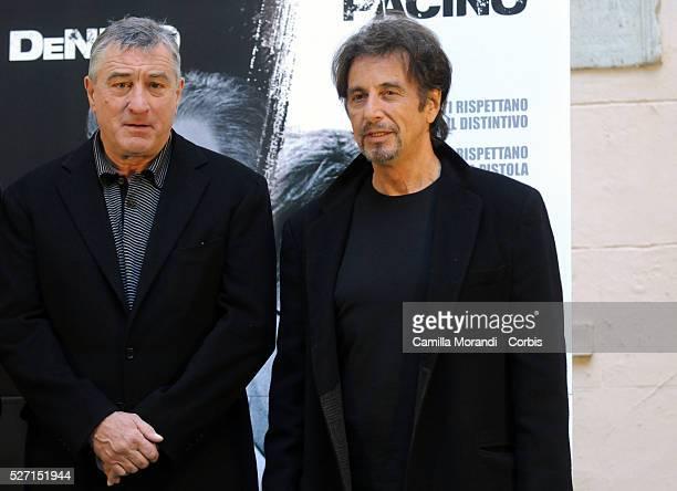 Actors Robert De Niro and Al Pacino attend the premiere of 'Righteous Kill' in Rome