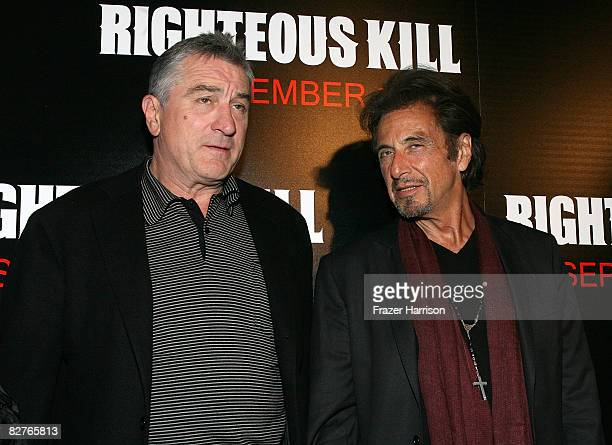 Actors Robert De Niro and Al Pacino attend The Righteous Kill premiere at the The Ziegfeld on September 10, 2008 in New York City.