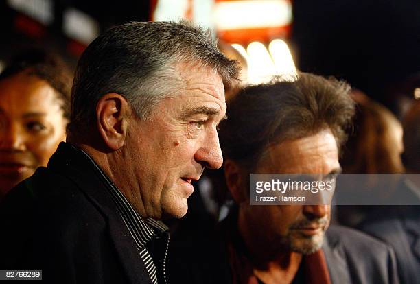 Actors Robert De Niro and Al Pacino attend The Righteous Kill premiere at the The Ziegfeld on September 10 2008 in New York City