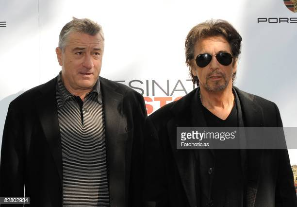 Actors Robert De Niro and Al Pacino attend the 'Righteous Kill' photocall at the Ritz Hotel on September 13 2008 in Madrid Spain