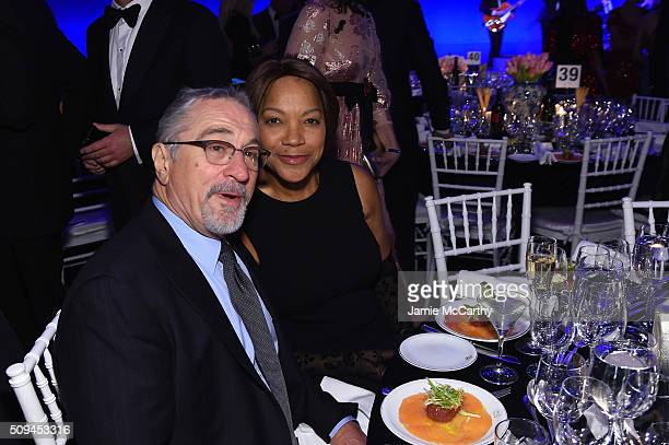 Actors Robert De Niro and Grace Hightower attend the 2016 amfAR New York Gala at Cipriani Wall Street on February 10 2016 in New York City