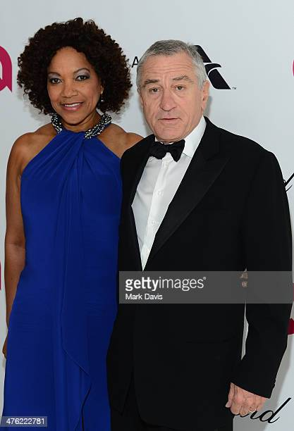 Actors Robert De Niro and Grace Hightower attend the 22nd Annual Elton John AIDS Foundation's Oscar Viewing Party on March 2 2014 in Los Angeles...