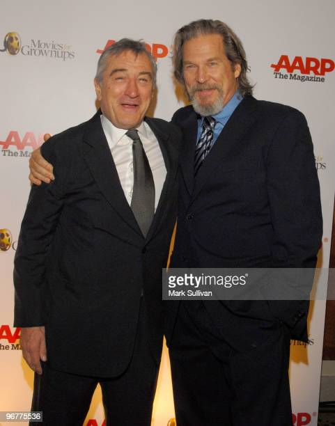 Actors Robert De Niro and Jeff Bridges attend AARP's 9th Annual Movies For Grownups awards gala held on february 16 2010 in Beverly Hills California